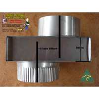 "6"" WOOD HEATER FLUE INBUILT S/S 3inch OFFSET diameter B/New"